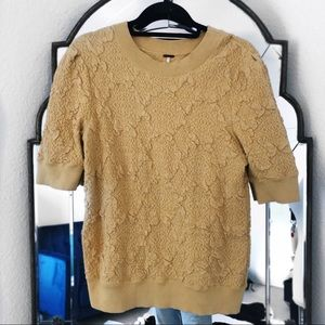 Free people gold quilted jacquard crewneck sweater
